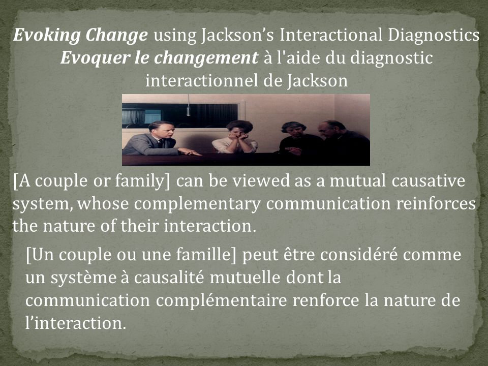 Evoking Change using Jackson's Interactional Diagnostics