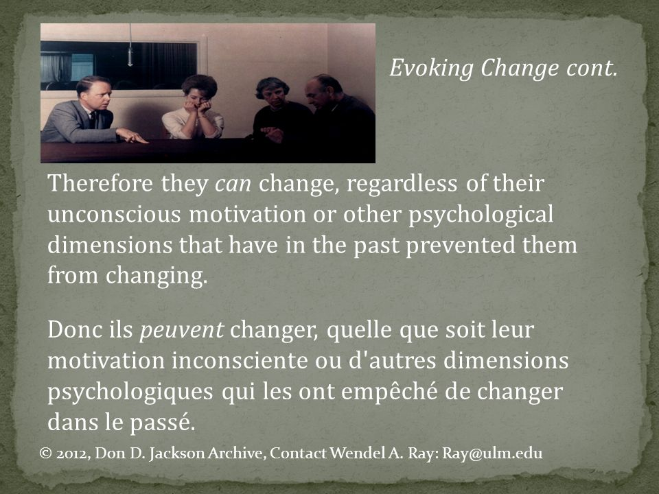 Evoking Change cont.