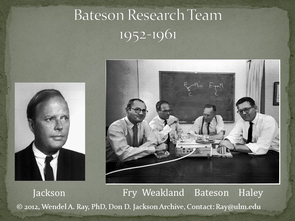 Bateson Research Team 1952-1961