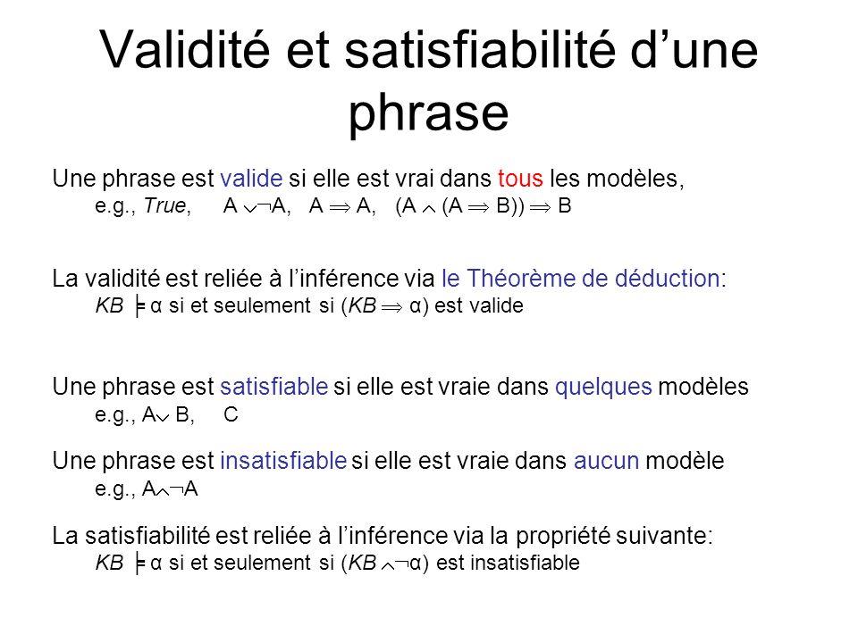 Validité et satisfiabilité d'une phrase