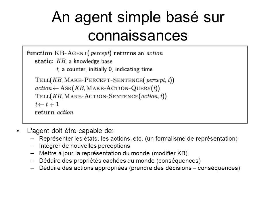 An agent simple basé sur connaissances