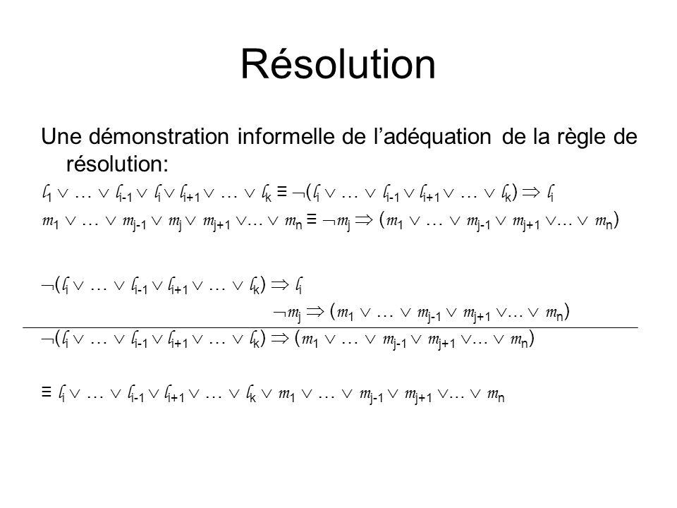Résolution Une démonstration informelle de l'adéquation de la règle de résolution: