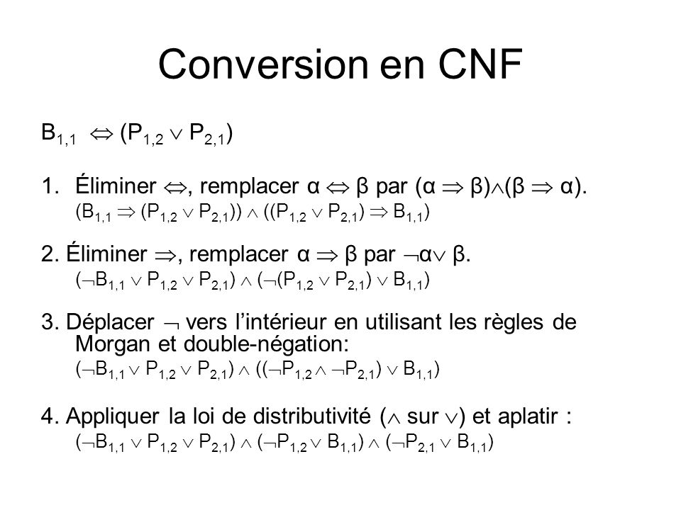 Conversion en CNF B1,1  (P1,2  P2,1)