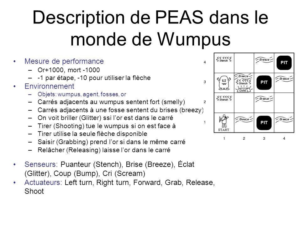Description de PEAS dans le monde de Wumpus
