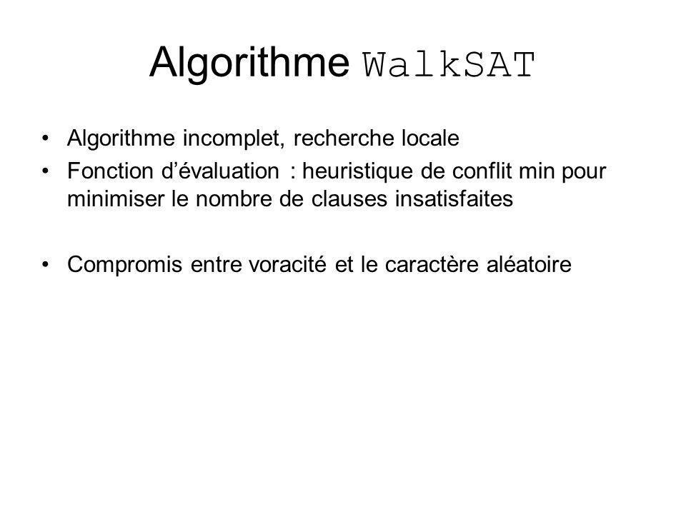 Algorithme WalkSAT Algorithme incomplet, recherche locale