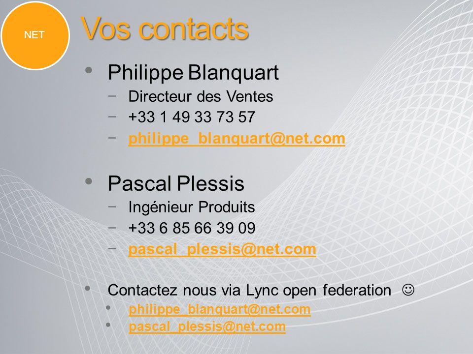 Vos contacts Philippe Blanquart Pascal Plessis Directeur des Ventes