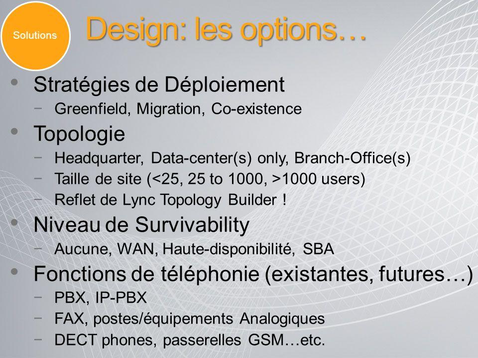 Design: les options… Stratégies de Déploiement Topologie