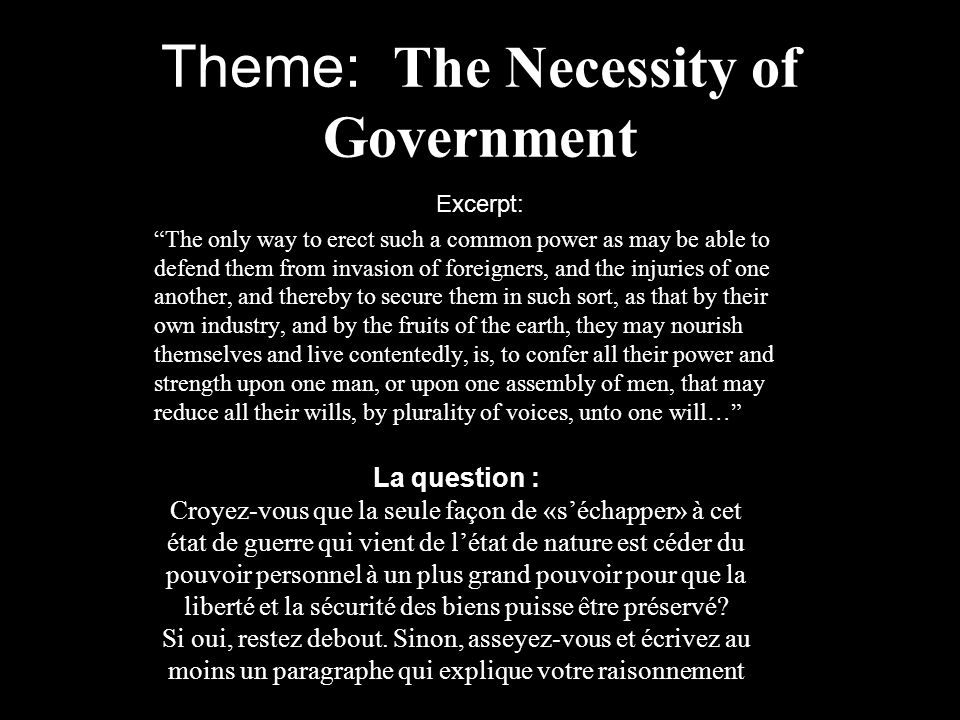 Theme: The Necessity of Government