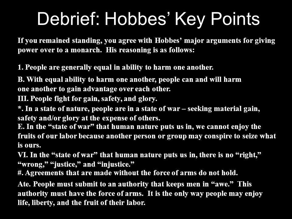 Debrief: Hobbes' Key Points
