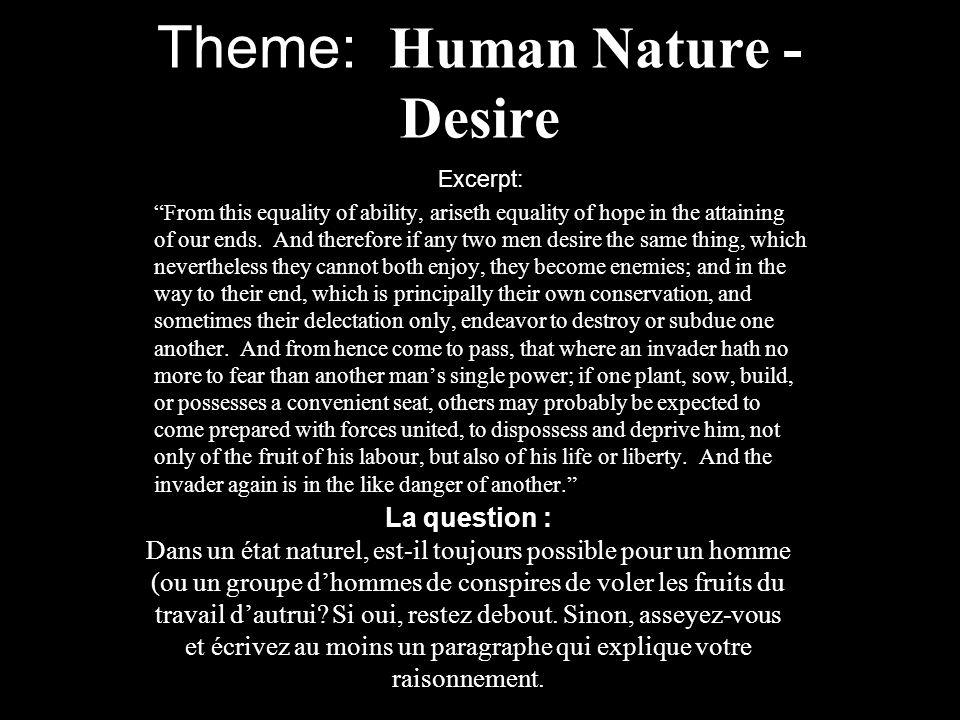Theme: Human Nature - Desire
