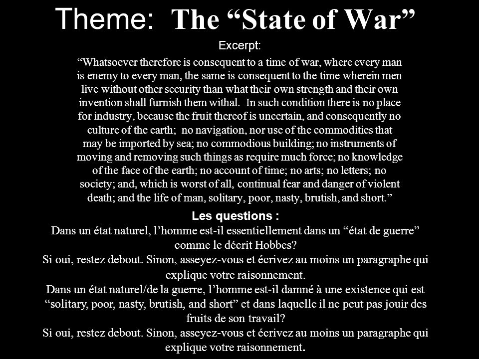 Theme: The State of War