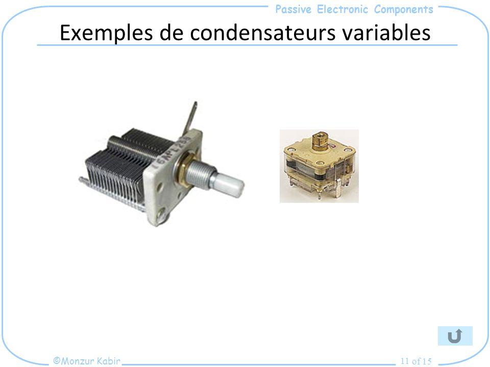 Exemples de condensateurs variables