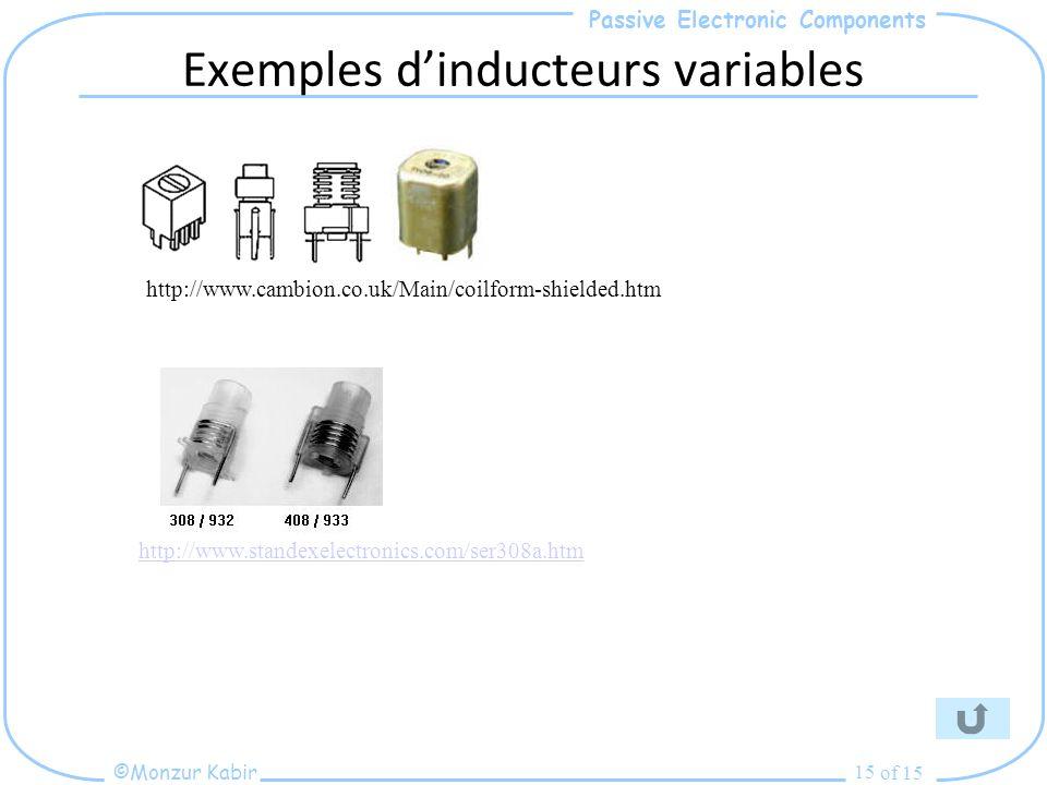Exemples d'inducteurs variables