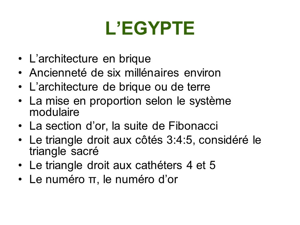 L'EGYPTE L'architecture en brique