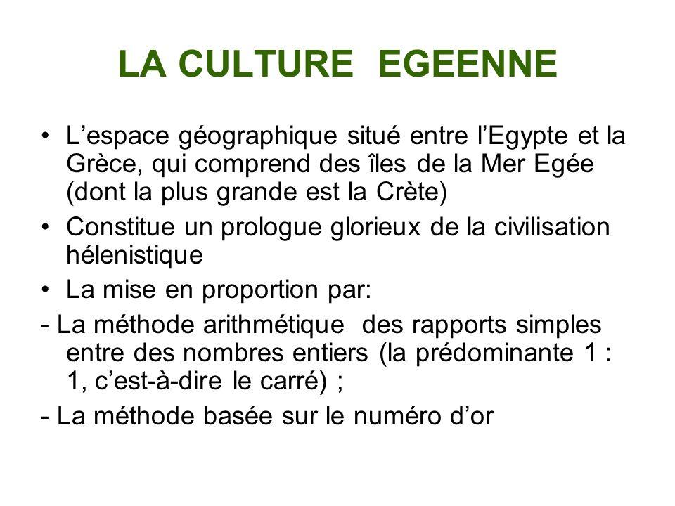 LA CULTURE EGEENNE L'espace géographique situé entre l'Egypte et la Grèce, qui comprend des îles de la Mer Egée (dont la plus grande est la Crète)