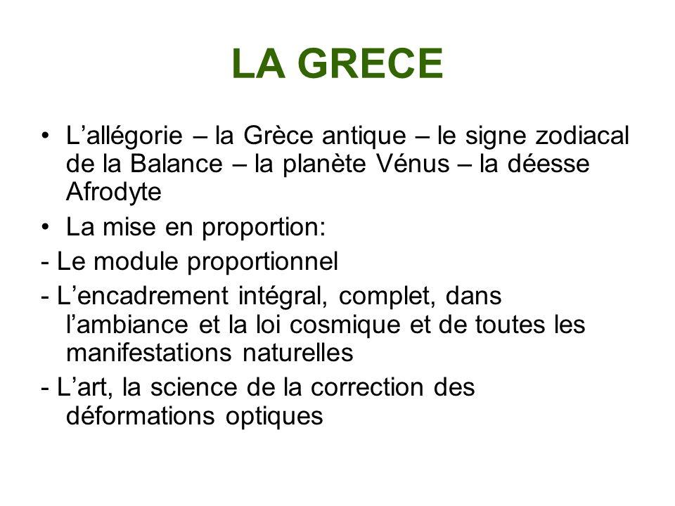 LA GRECE L'allégorie – la Grèce antique – le signe zodiacal de la Balance – la planète Vénus – la déesse Afrodyte.