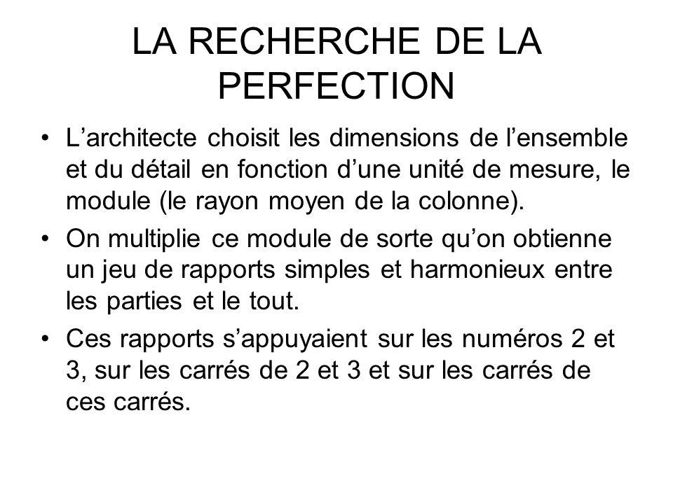 LA RECHERCHE DE LA PERFECTION