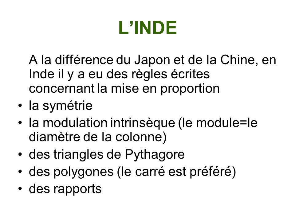 L'INDE A la différence du Japon et de la Chine, en Inde il y a eu des règles écrites concernant la mise en proportion.
