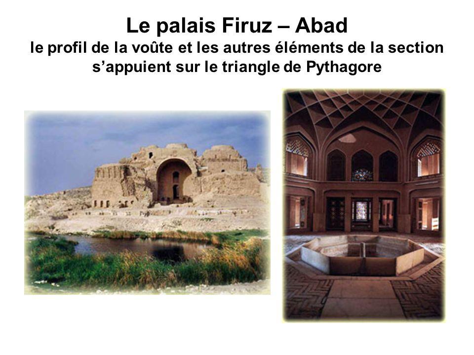Le palais Firuz – Abad le profil de la voûte et les autres éléments de la section s'appuient sur le triangle de Pythagore