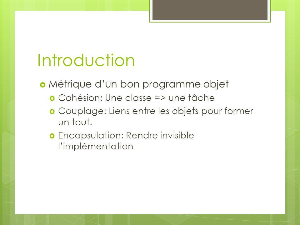 Introduction Métrique d'un bon programme objet