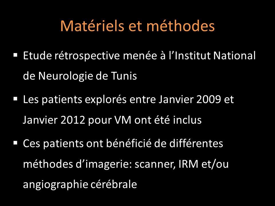 Matériels et méthodes Etude rétrospective menée à l'Institut National de Neurologie de Tunis.