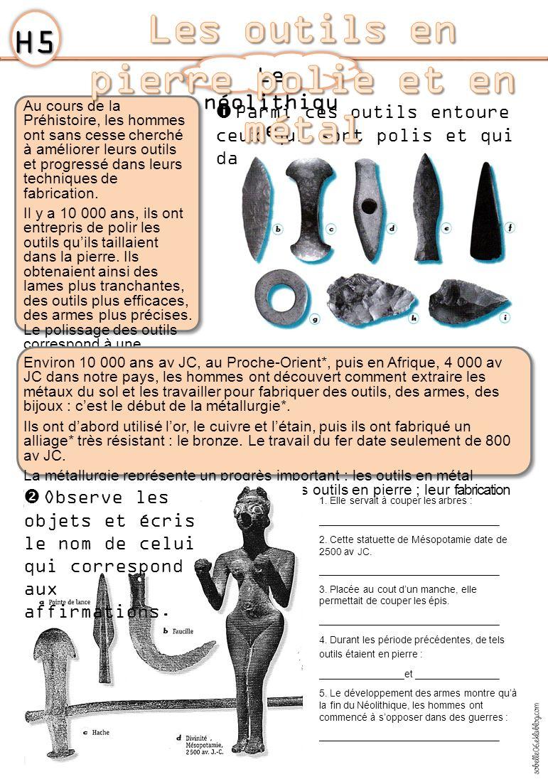 Les outils en pierre polie et en métal