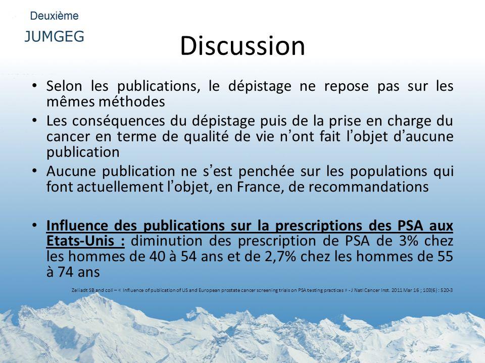 Discussion Selon les publications, le dépistage ne repose pas sur les mêmes méthodes.