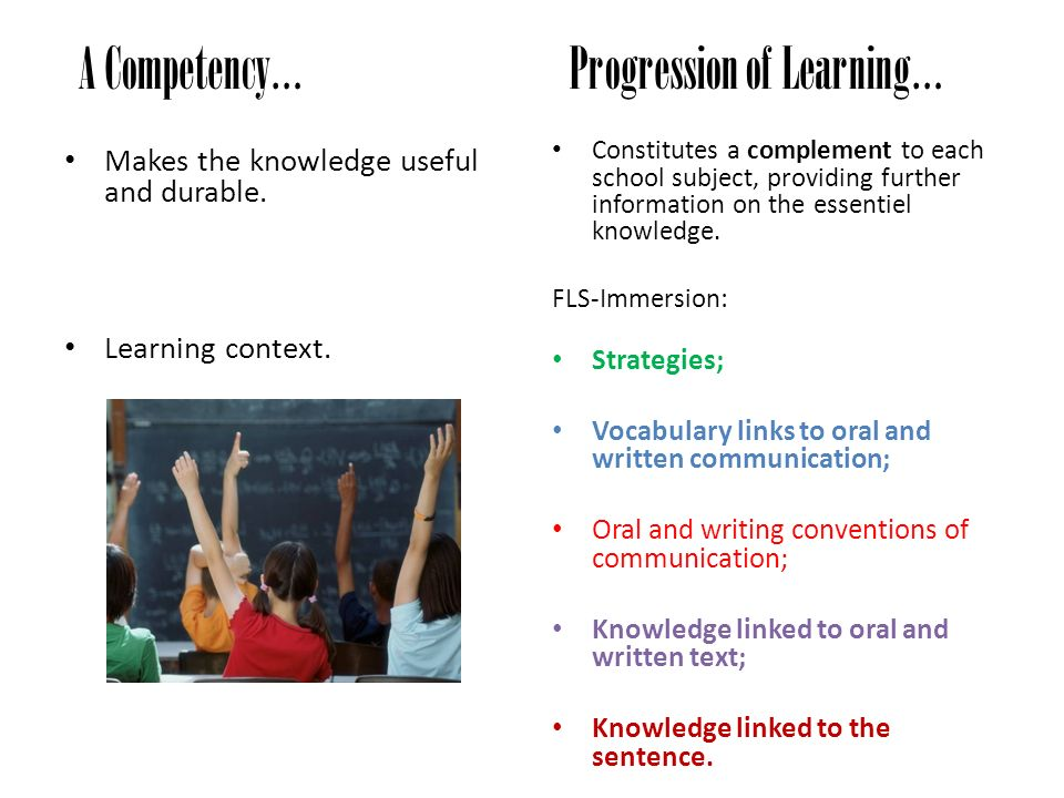 A Competency… Progression of Learning…