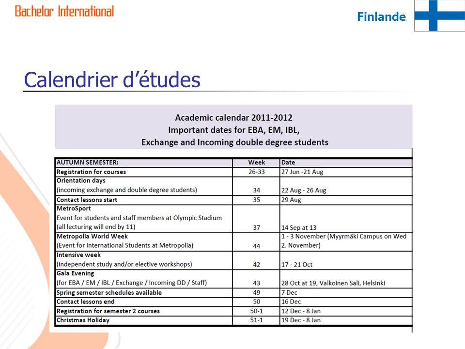Finlande Calendrier d'études