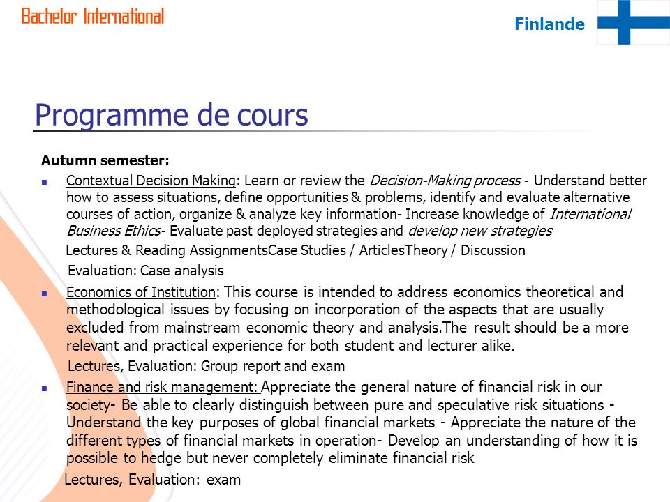 Programme de cours Finlande Lectures, Evaluation: exam