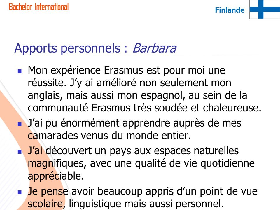 Apports personnels : Barbara