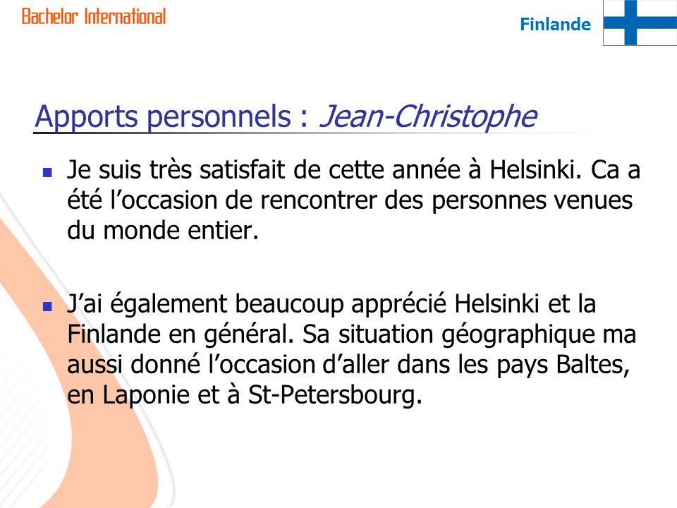 Apports personnels : Jean-Christophe