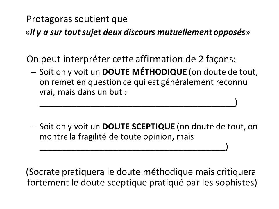 Protagoras soutient que