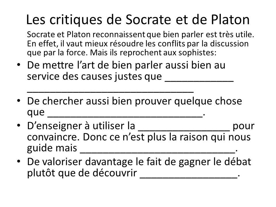 Les critiques de Socrate et de Platon