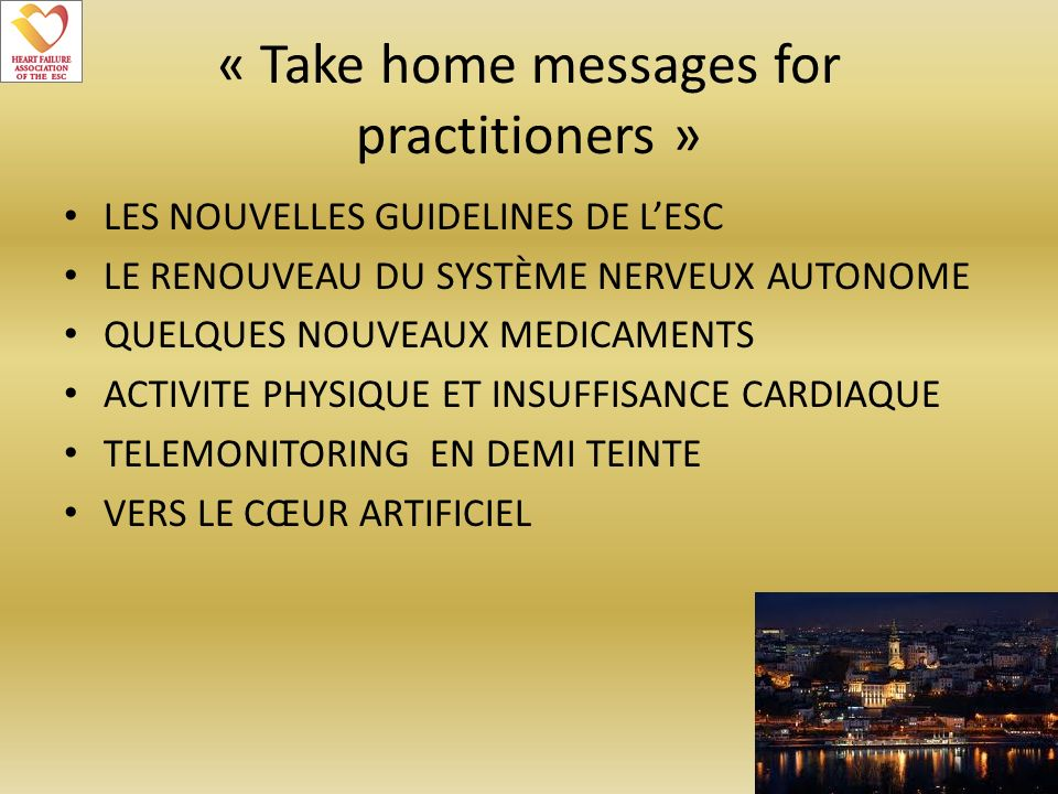 « Take home messages for practitioners »
