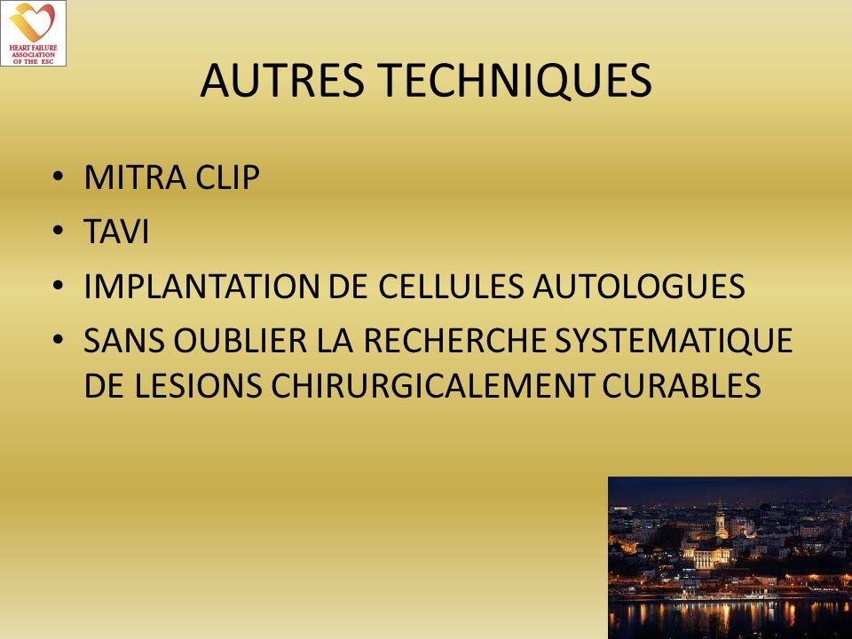 AUTRES TECHNIQUES MITRA CLIP TAVI IMPLANTATION DE CELLULES AUTOLOGUES