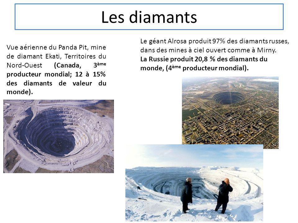Les diamants Le géant Alrosa produit 97% des diamants russes, dans des mines à ciel ouvert comme à Mirny.