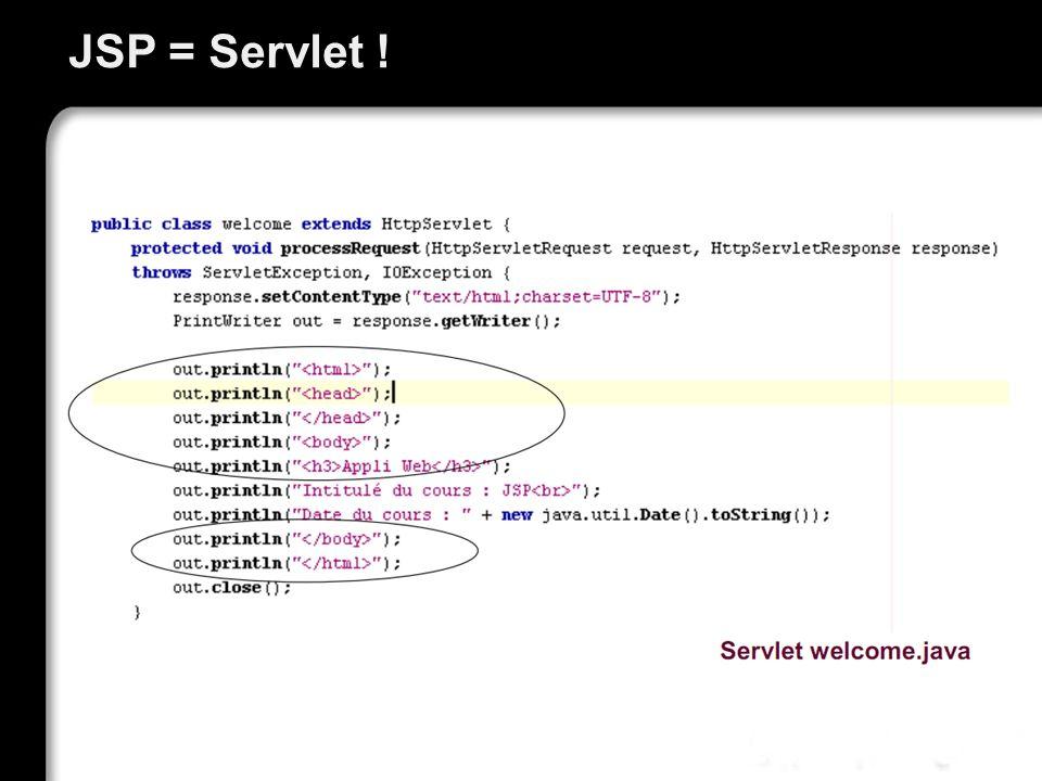 JSP = Servlet !