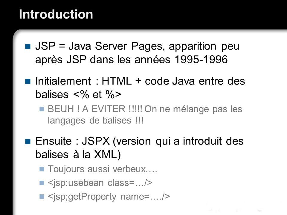 Introduction JSP = Java Server Pages, apparition peu après JSP dans les années 1995-1996.