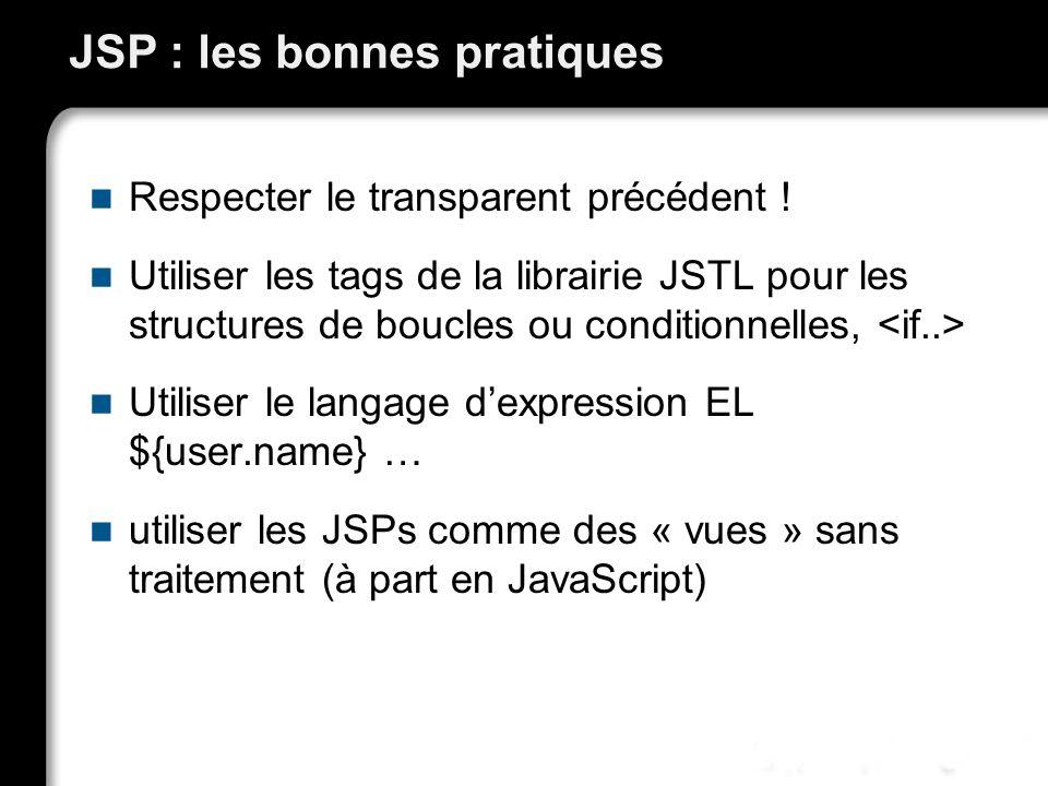 JSP : les bonnes pratiques