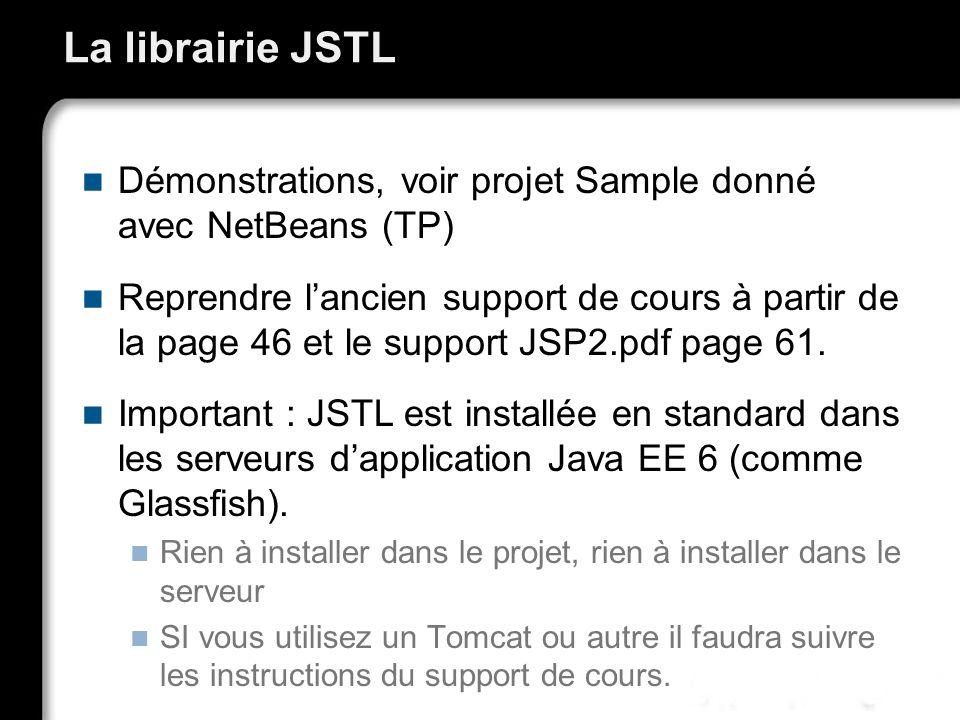 La librairie JSTL Démonstrations, voir projet Sample donné avec NetBeans (TP)