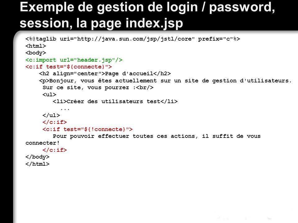Exemple de gestion de login / password, session, la page index.jsp