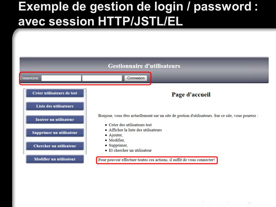 Exemple de gestion de login / password : avec session HTTP/JSTL/EL