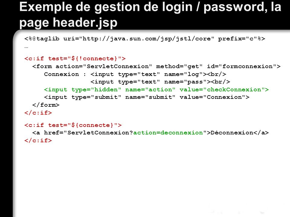 Exemple de gestion de login / password, la page header.jsp