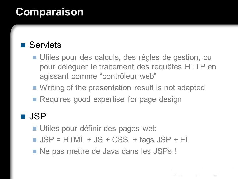 Comparaison Servlets JSP