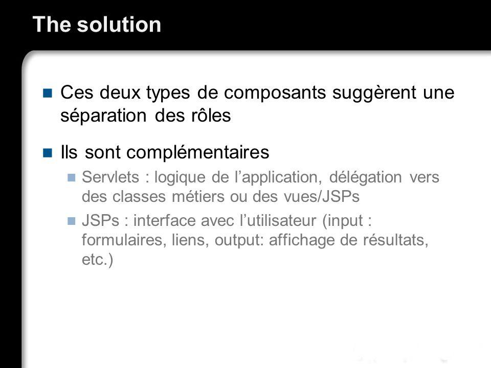 The solution Ces deux types de composants suggèrent une séparation des rôles. Ils sont complémentaires.