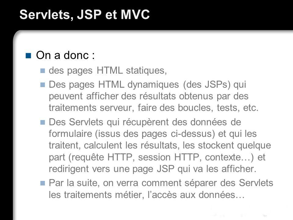 Servlets, JSP et MVC On a donc : des pages HTML statiques,