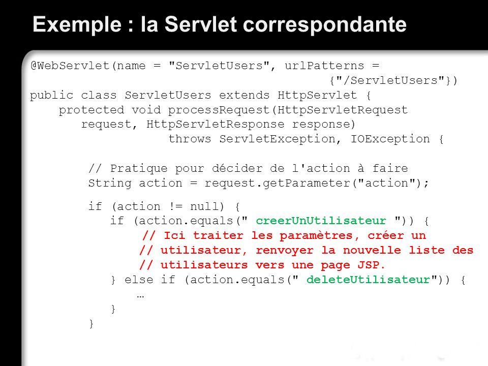 Exemple : la Servlet correspondante