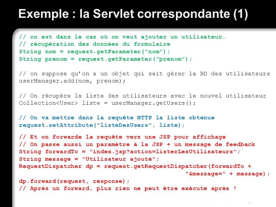 Exemple : la Servlet correspondante (1)