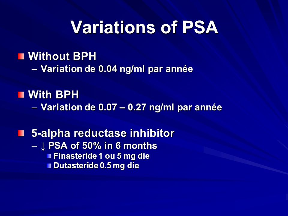 Variations of PSA Without BPH With BPH 5-alpha reductase inhibitor